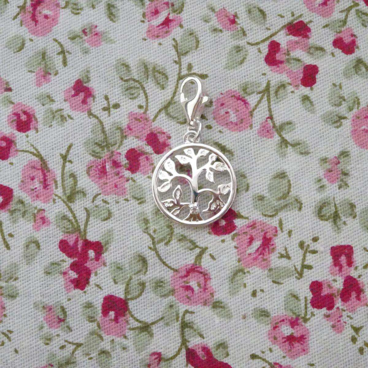 Sterling Silver & Genuine Diamond Open Tree of Life Clip on Charm