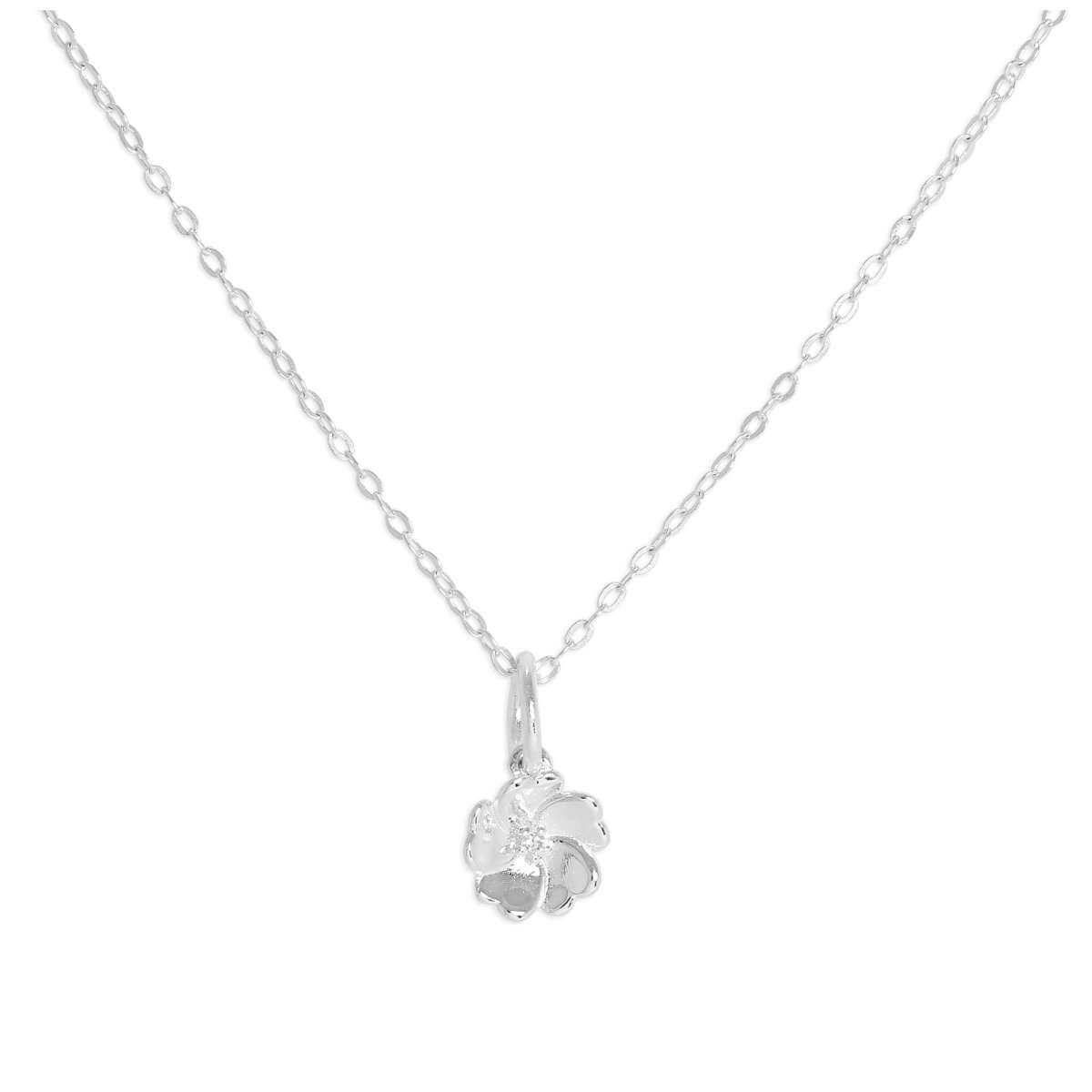 Sterling Silver & Genuine Diamond Flower Necklace 18 Inches Chain