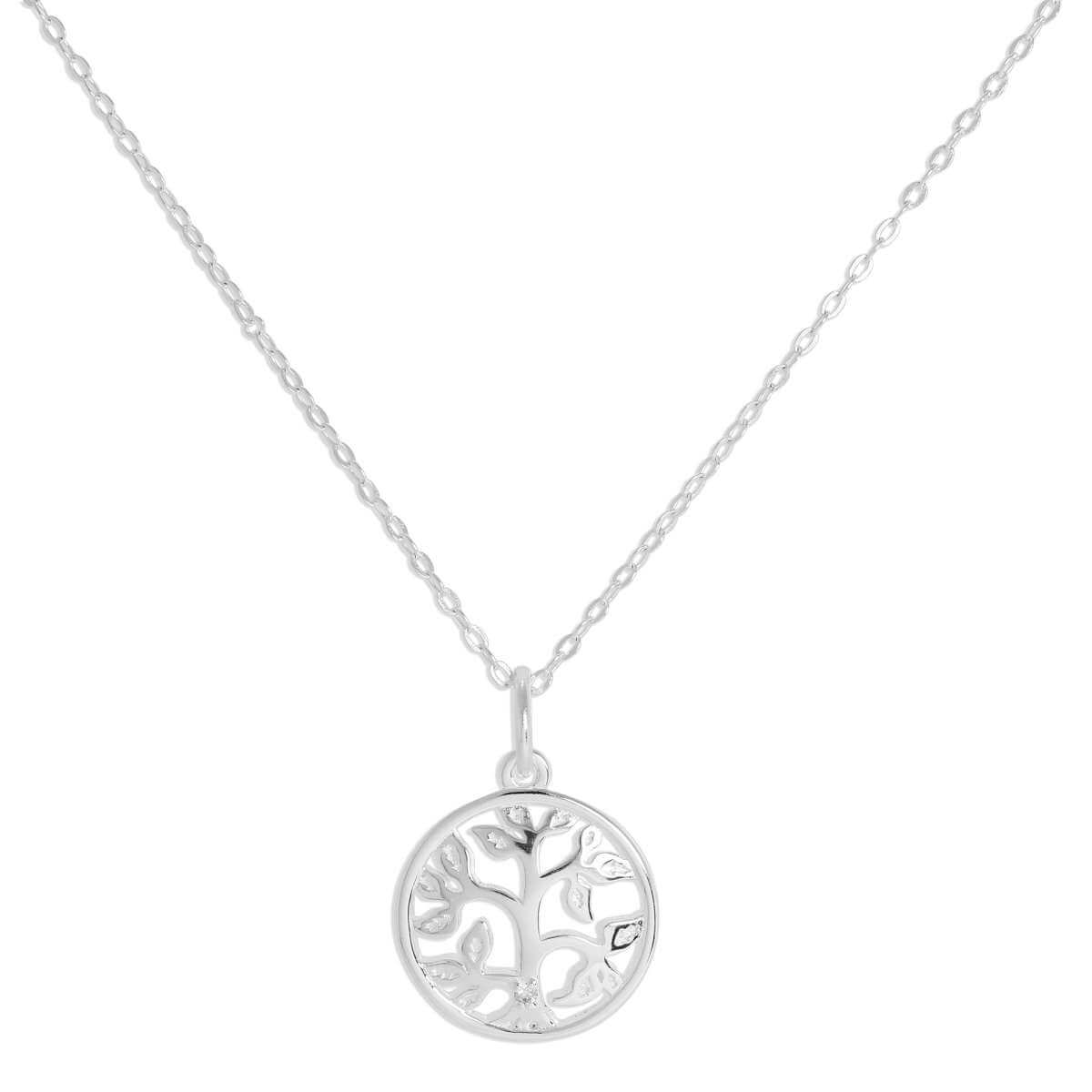 Sterling Silver & Genuine Diamond Tree of Life Necklace 16 Inches Chain