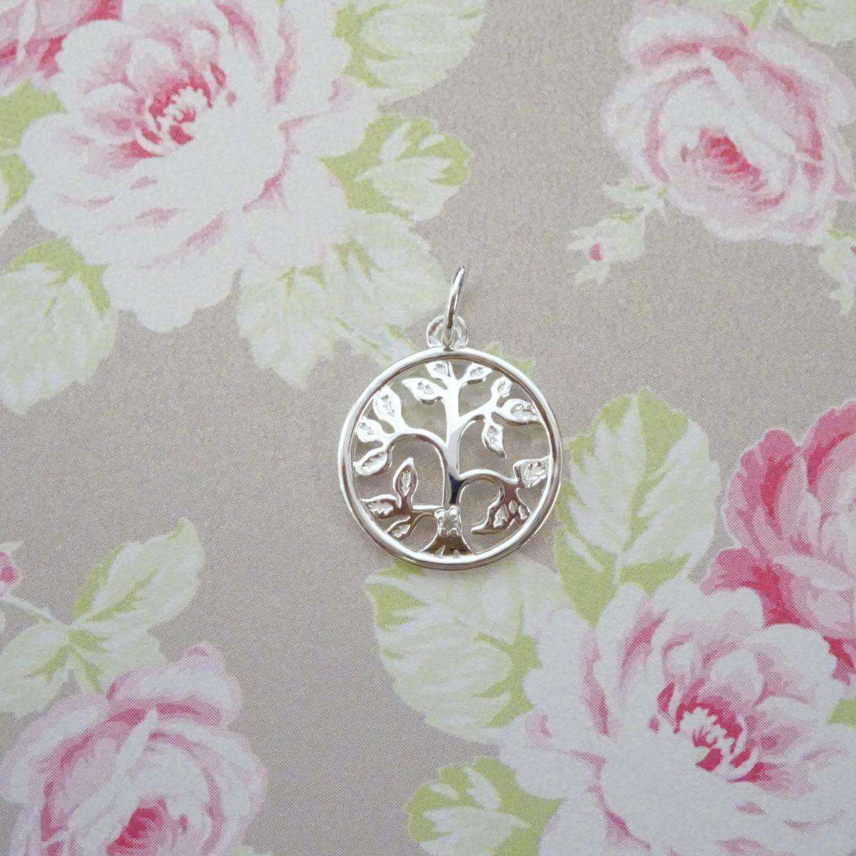 Sterling Silver & Genuine Diamond Tree of Life Charm