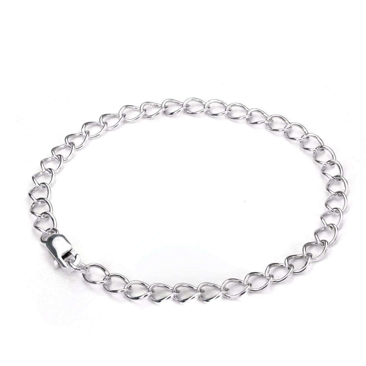 Sterling Silver Light Curb Chain Charm Bracelet