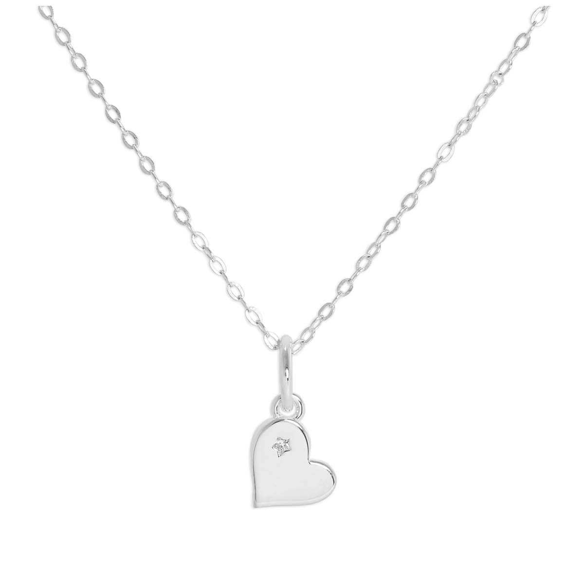 Sterling Silver & Genuine Diamond Heart Necklace 18 Inches Chain