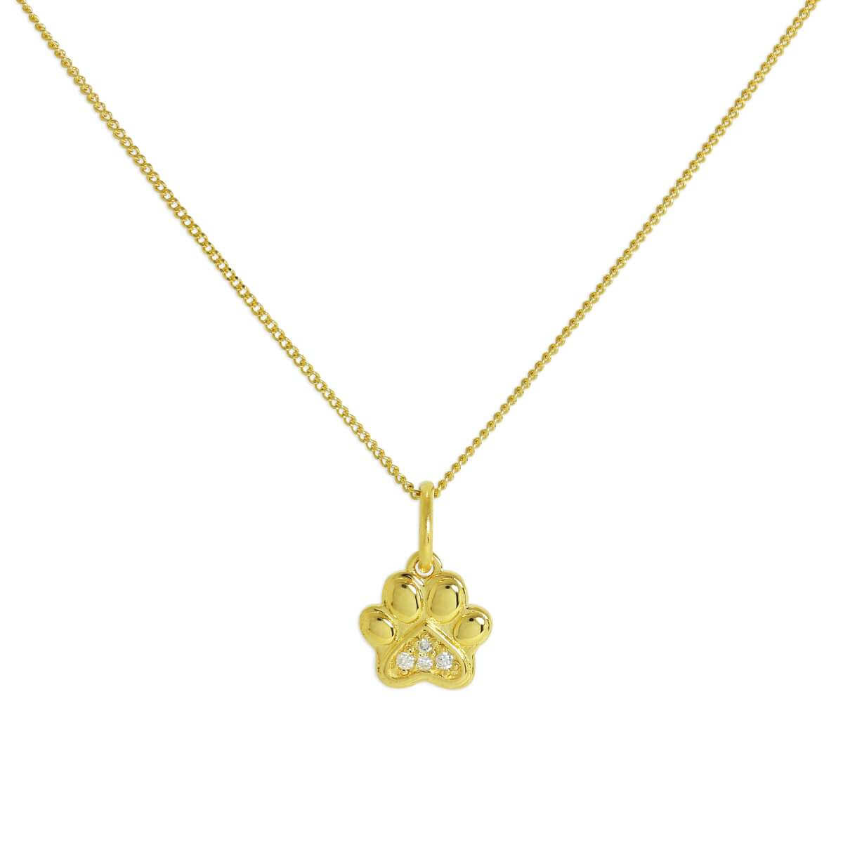 Gold Plated Sterling Silver & Genuine Diamond Pawprint Necklace 32 Inches Chain
