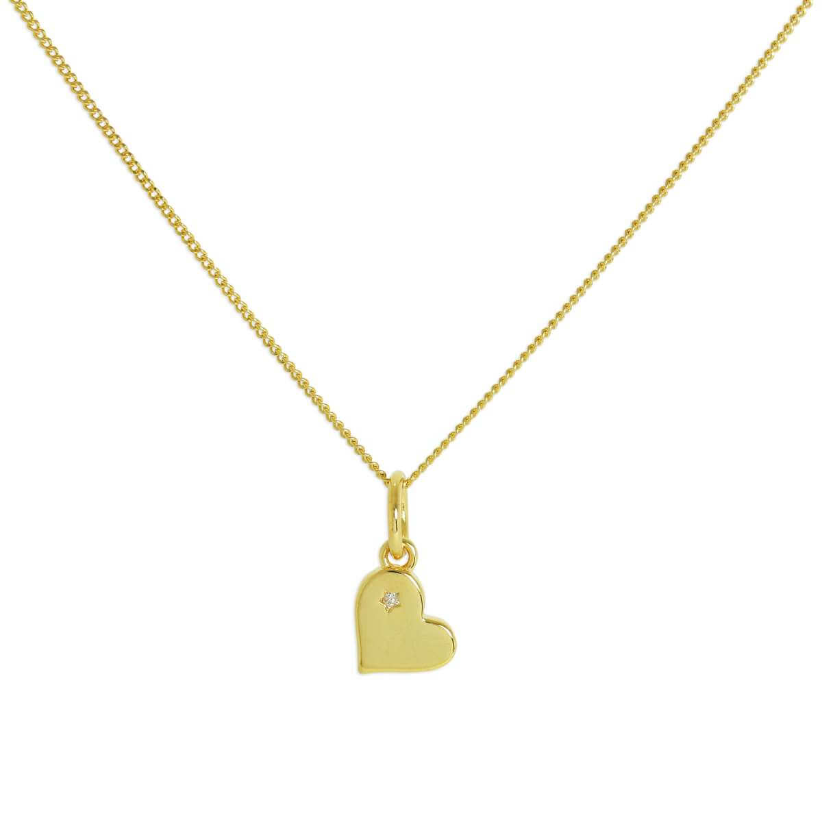 Gold Plated Sterling Silver & Genuine Diamond Heart Necklace 18 Inches Chain
