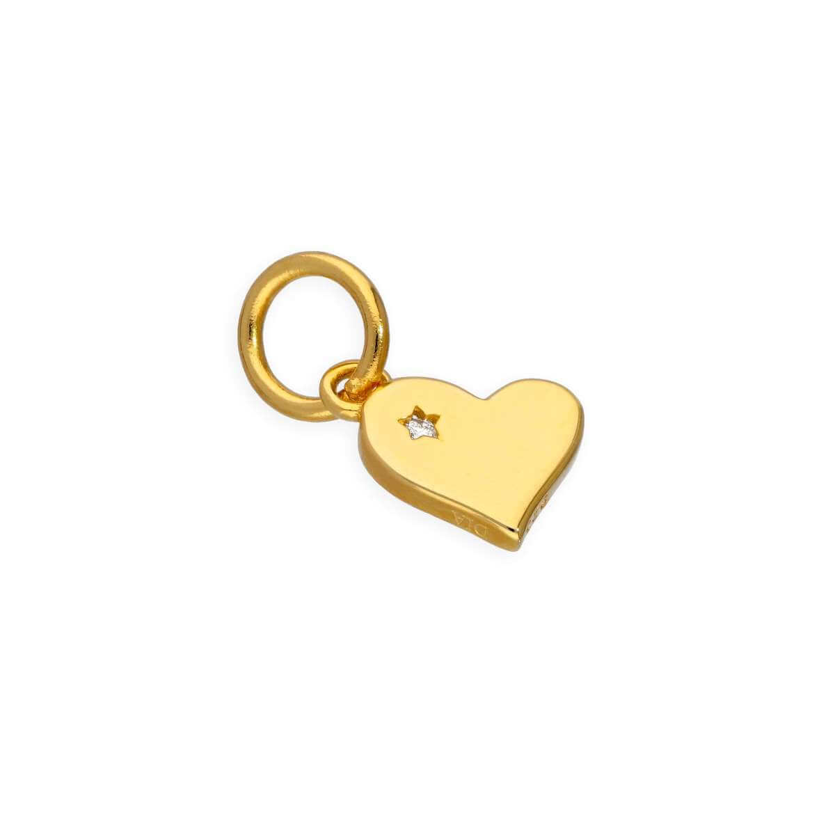Gold Plated Sterling Silver & Genuine Diamond Heart Charm