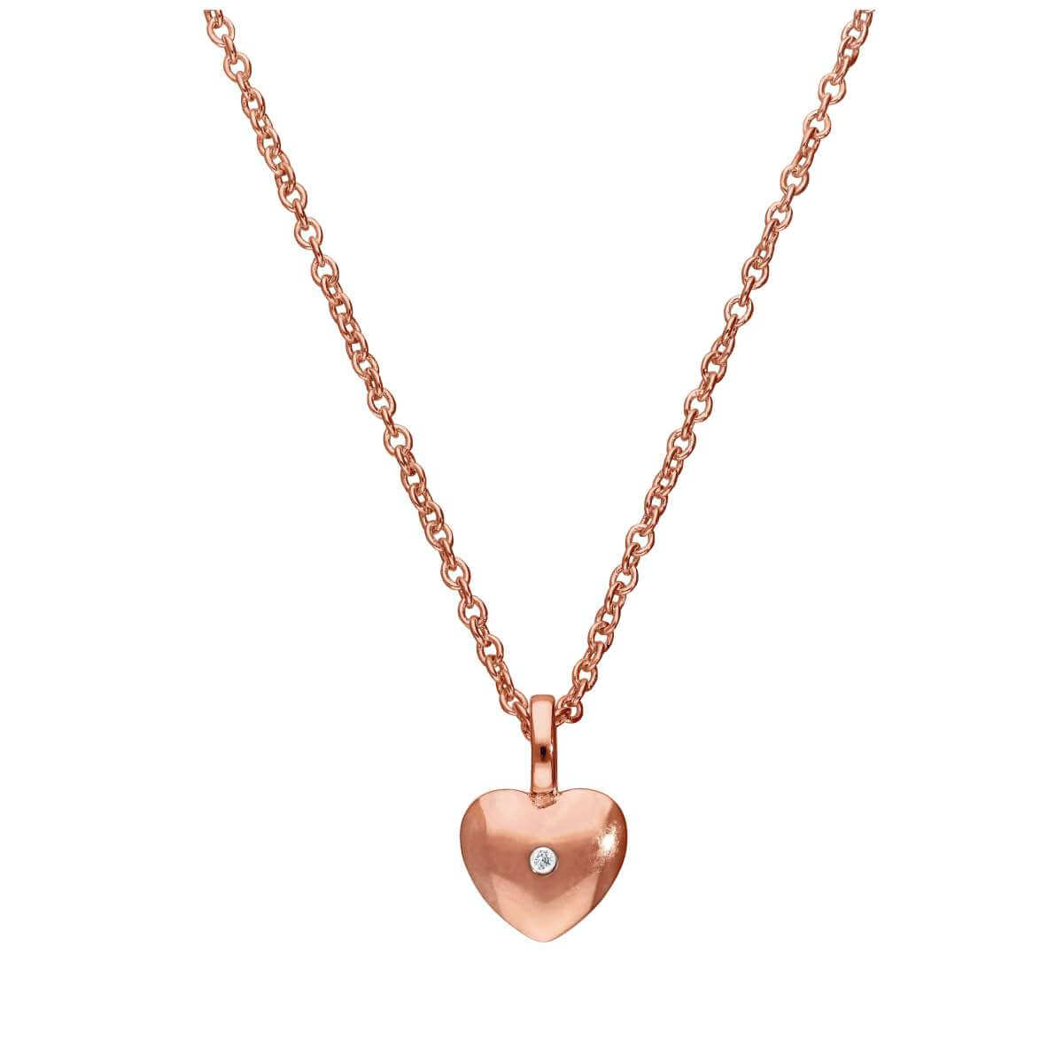 Rose Gold Plated Sterling Silver & Genuine Diamond 18 Inch Heart Necklace