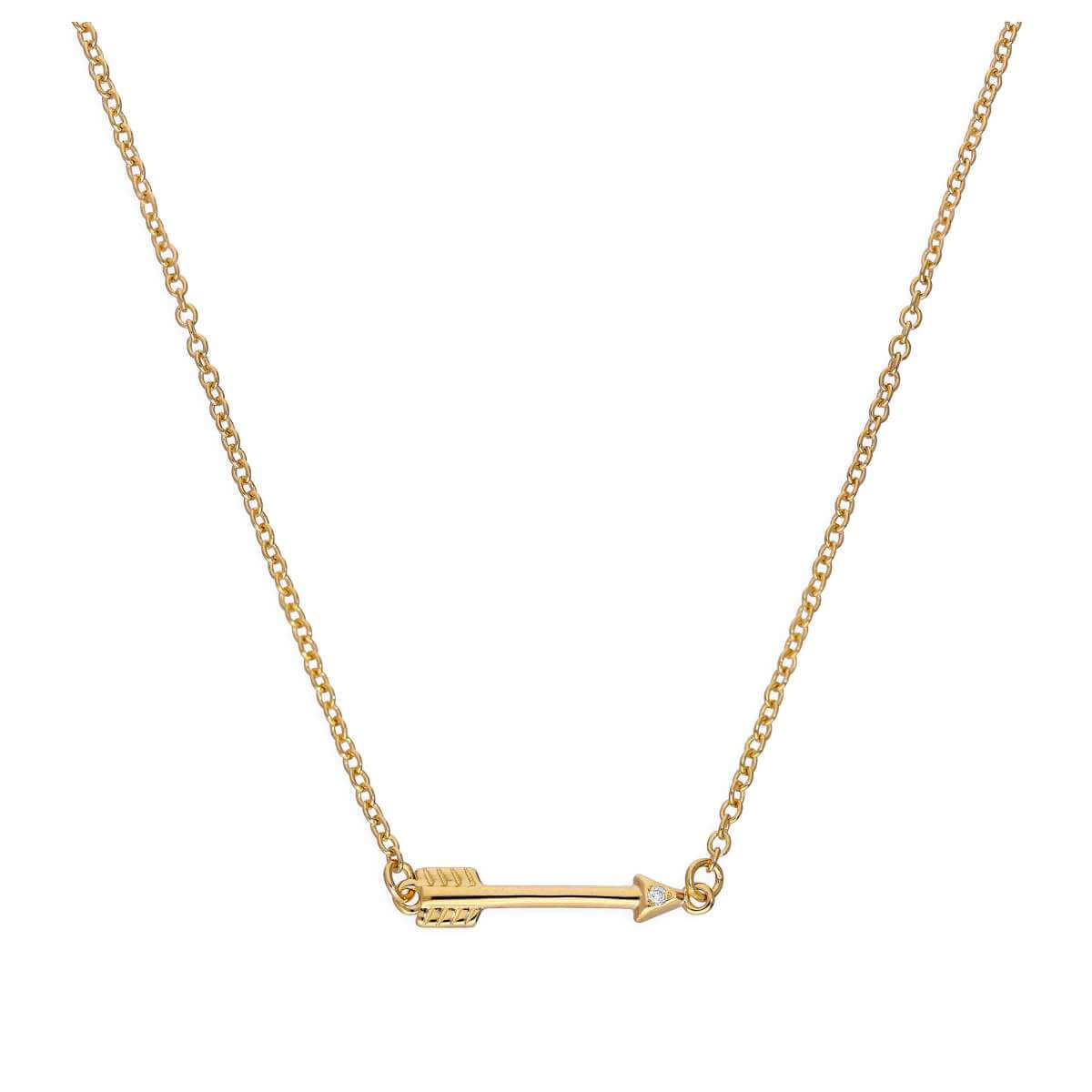 Gold Plated Sterling Silver & Genuine Diamond 18 Inch Arrow Necklace