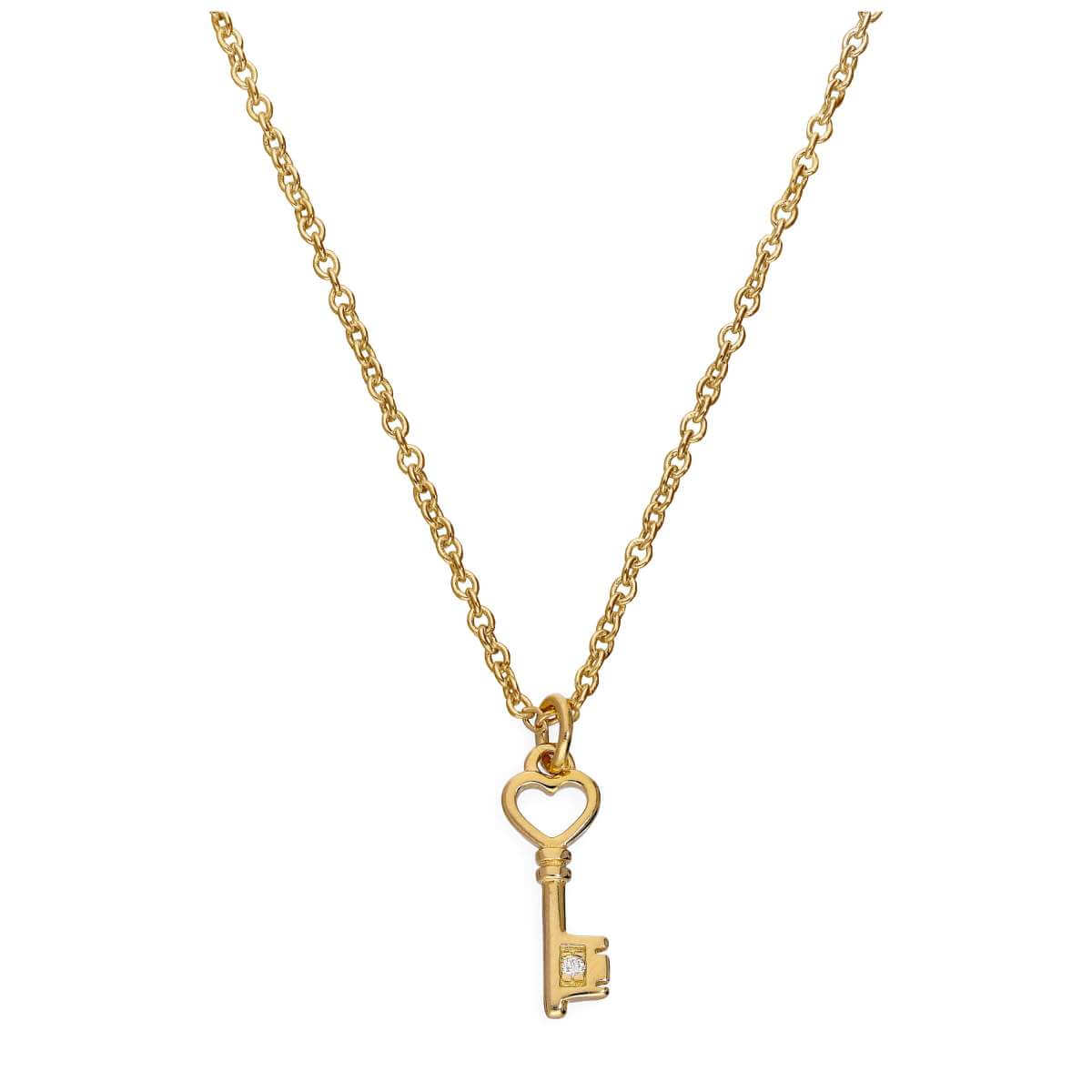 Gold Plated Sterling Silver & Genuine Diamond 18 Inch Heart Key Necklace