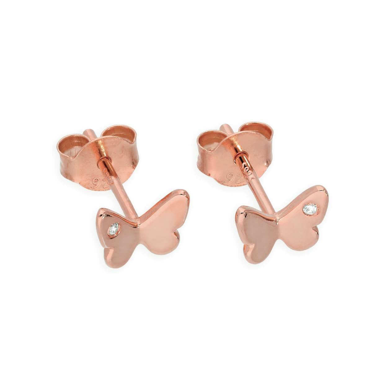 Rose Gold Plated Sterling Silver & Genuine Diamond Butterfly Stud Earrings