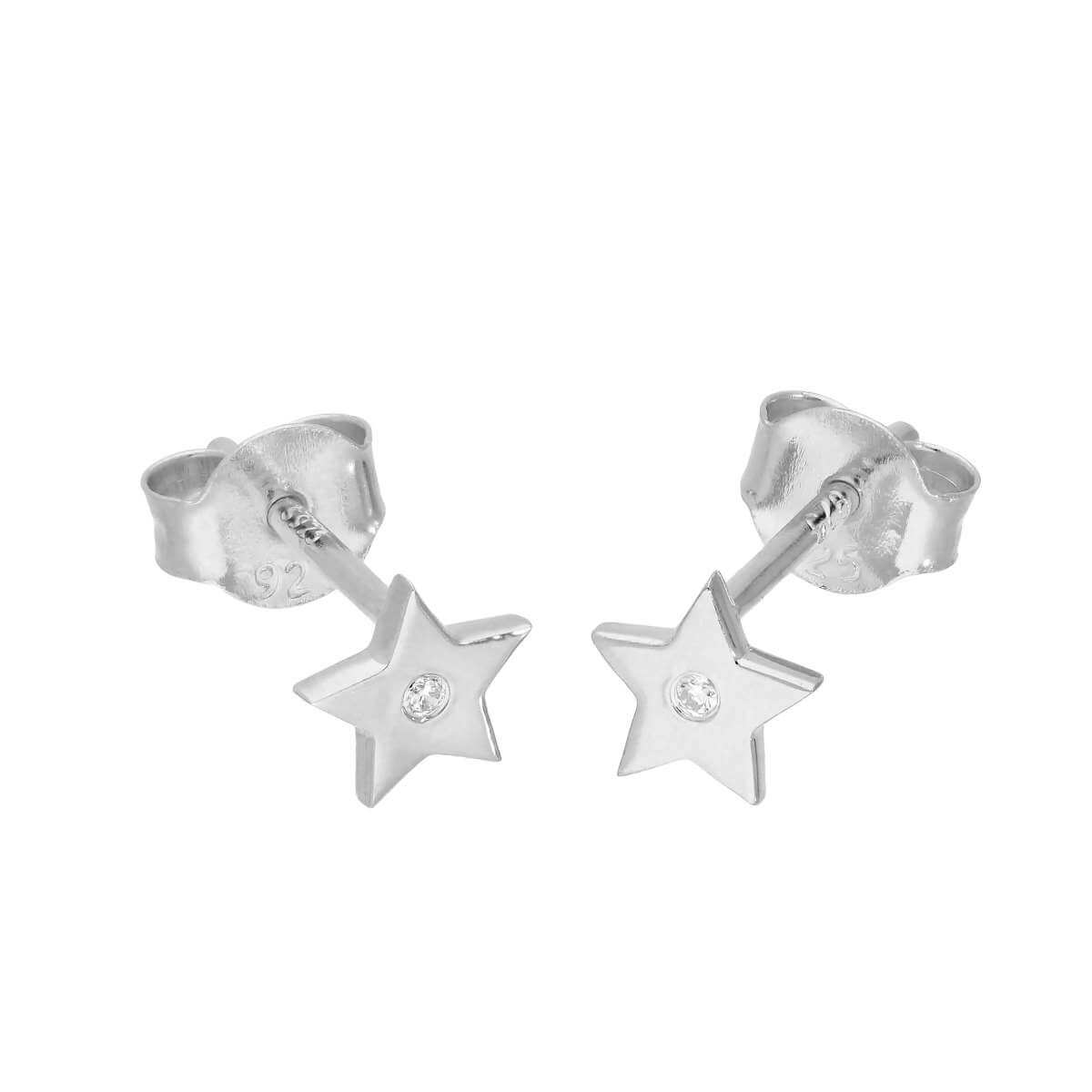 Sterling Silver & Genuine Diamond Star Stud Earrings