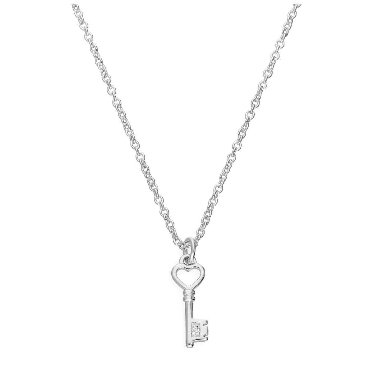 Sterling Silver & Genuine Diamond 18 Inch Heart Key Necklace
