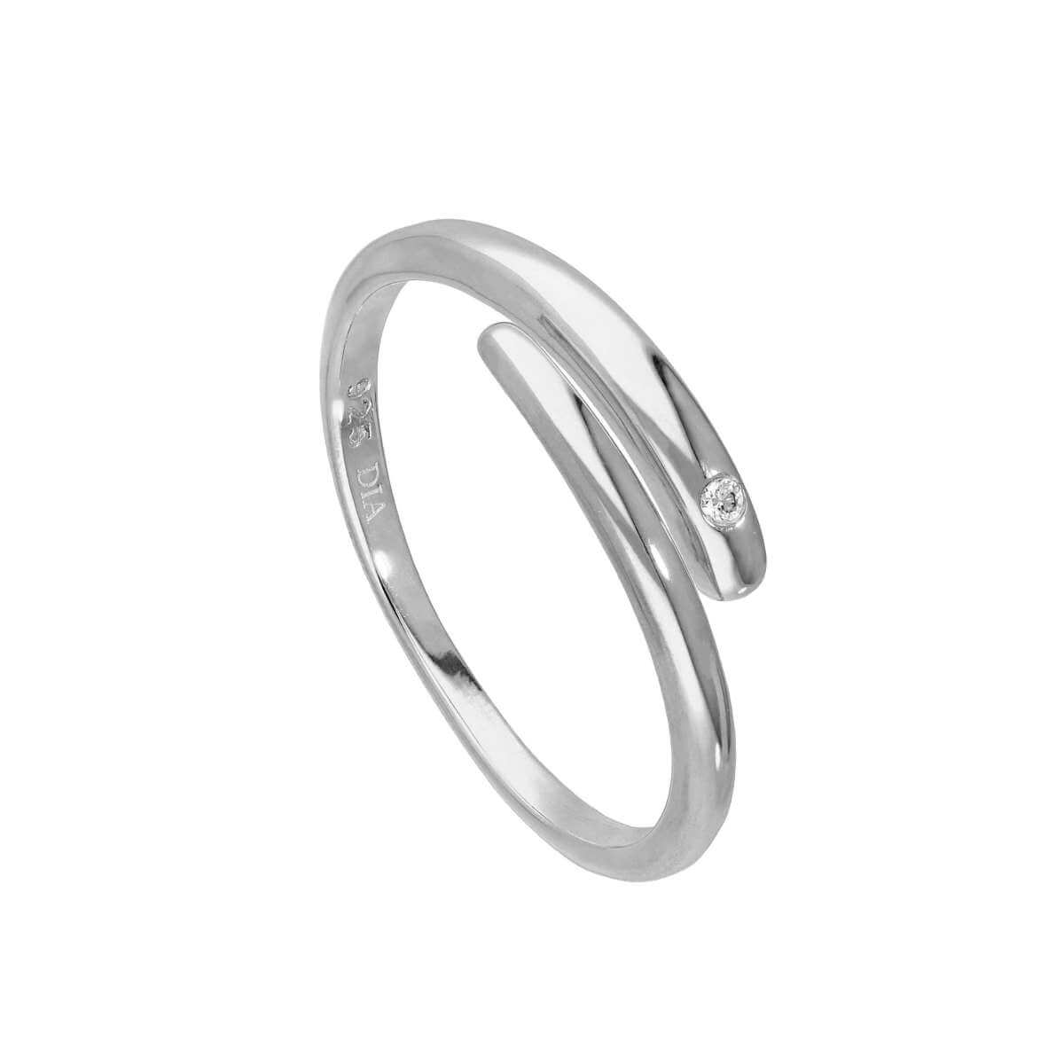 Sterling Silver & Genuine Diamond Adjustable Swirl Ring
