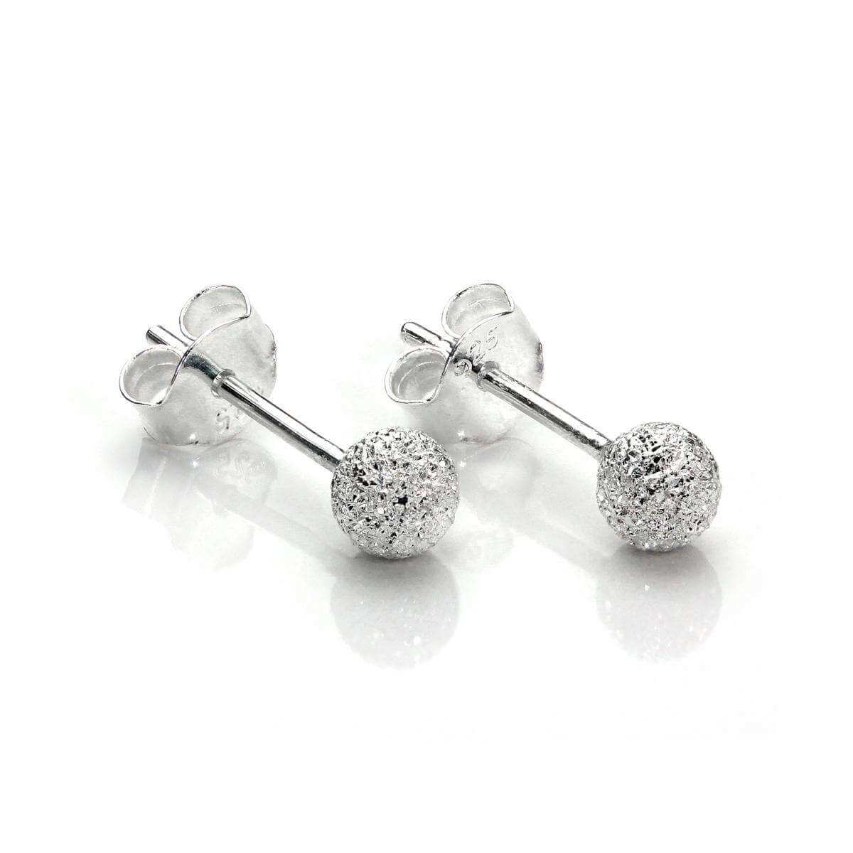 Sterling Silver 4mm Frosted Ball Stud Earrings