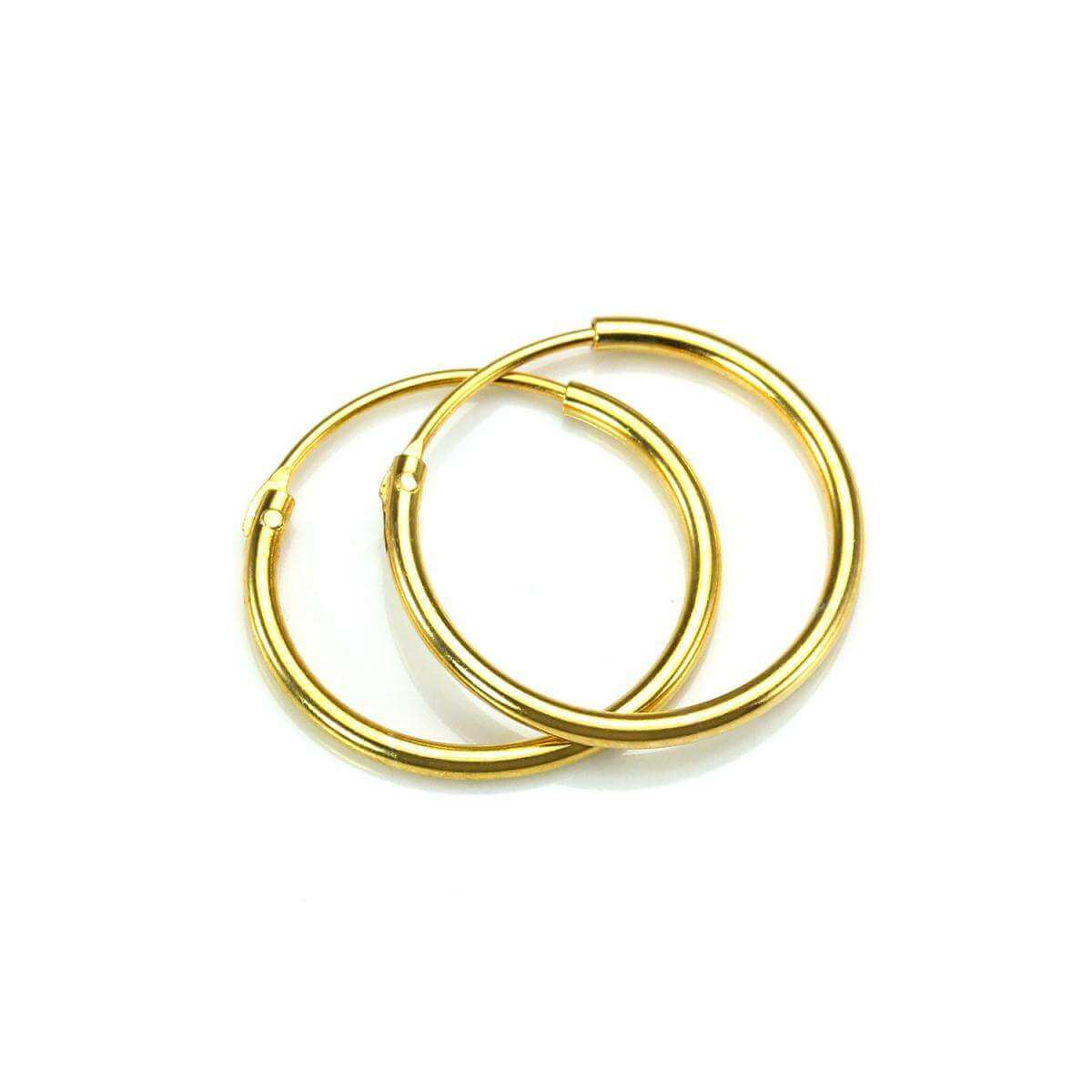 Gold Plated Sterling Silver 16mm Hoop Sleeper Earrings
