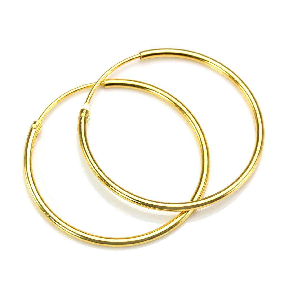Gold Plated Sterling Silver 25mm Hoop Sleeper Earrings