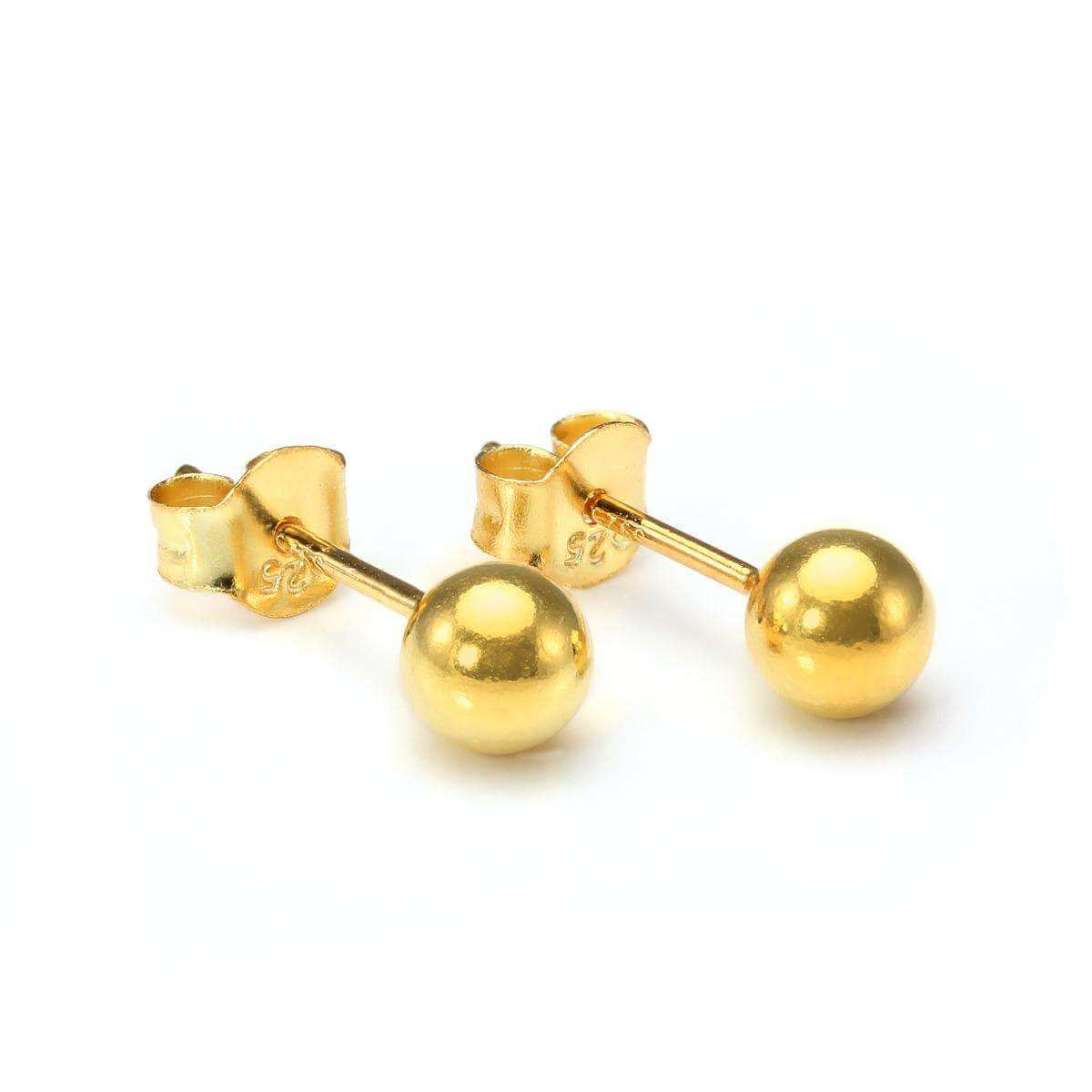 Gold Plated Small 6mm Sterling Silver Ball Stud Earrings
