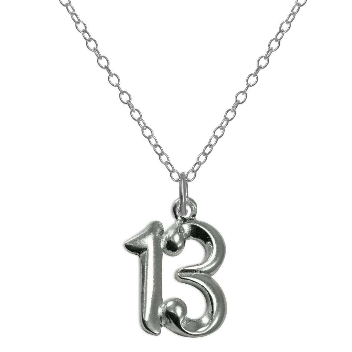 Sterling Silver 13th Birthday Number Pendant Necklace 14 - 22 Inches