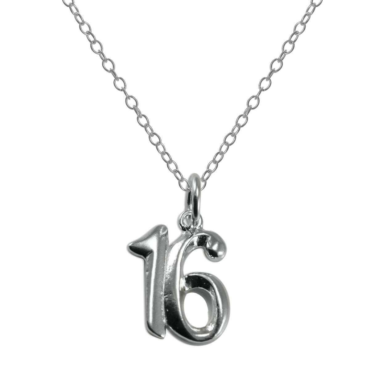 Sterling Silver 16th Birthday Number Pendant Necklace 14 - 22 Inches