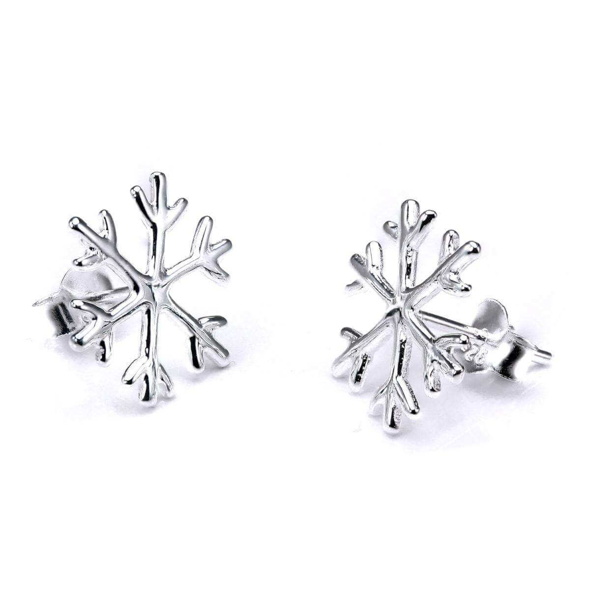 Sterling Silver Large Winter Snowflake Stud Earrings