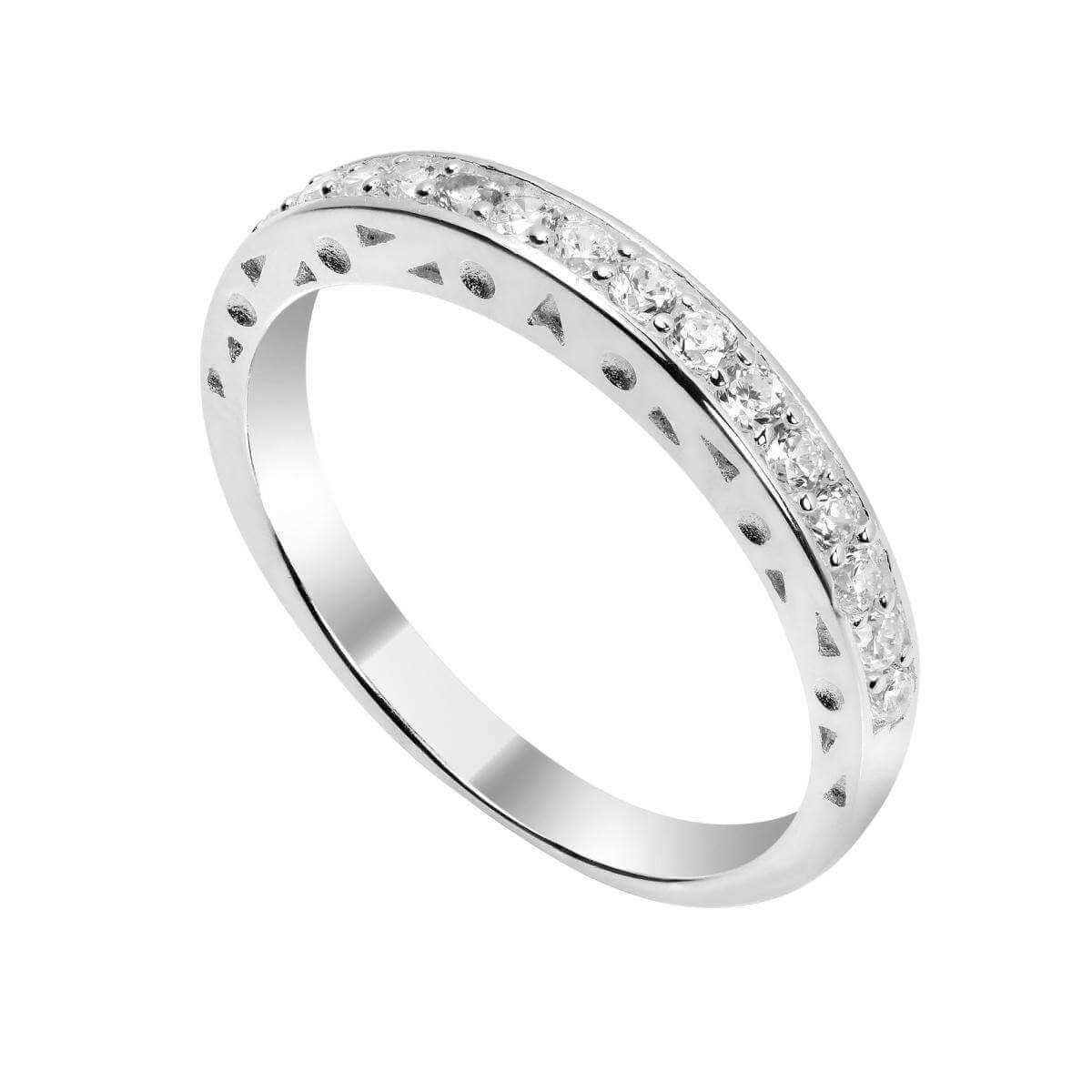 Sterling Silver & CZ Crystal Half Eternity Ring - Size I - U
