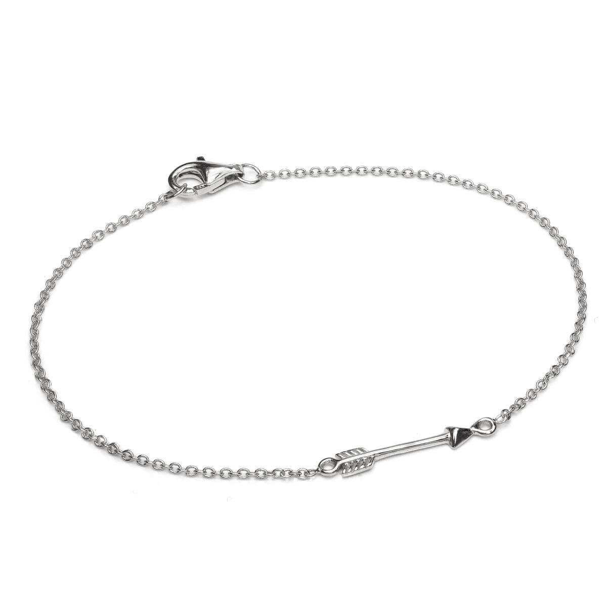 Fine Light Sterling Silver 7 Inch Arrow Bracelet with Lobster Clasp