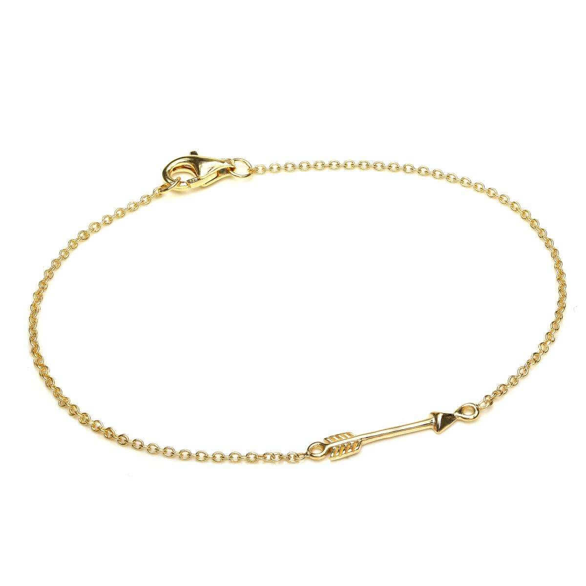 Fine Light Yellow Gold Plated Sterling Silver 7 Inch Arrow Bracelet