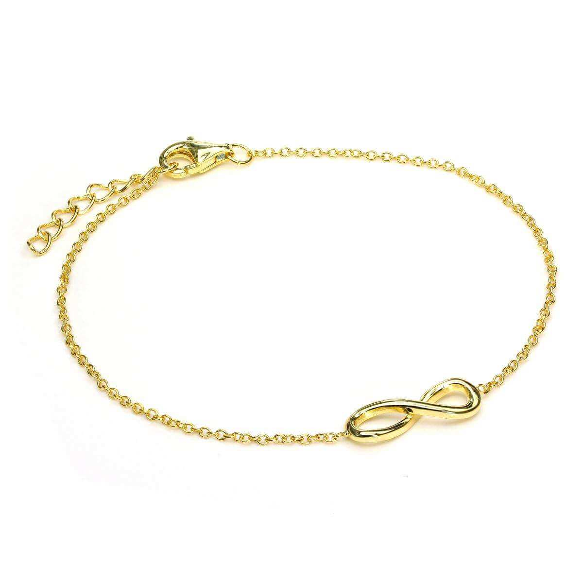 Gold Plated Sterling Silver Fine Infinity Bracelet with Clasp