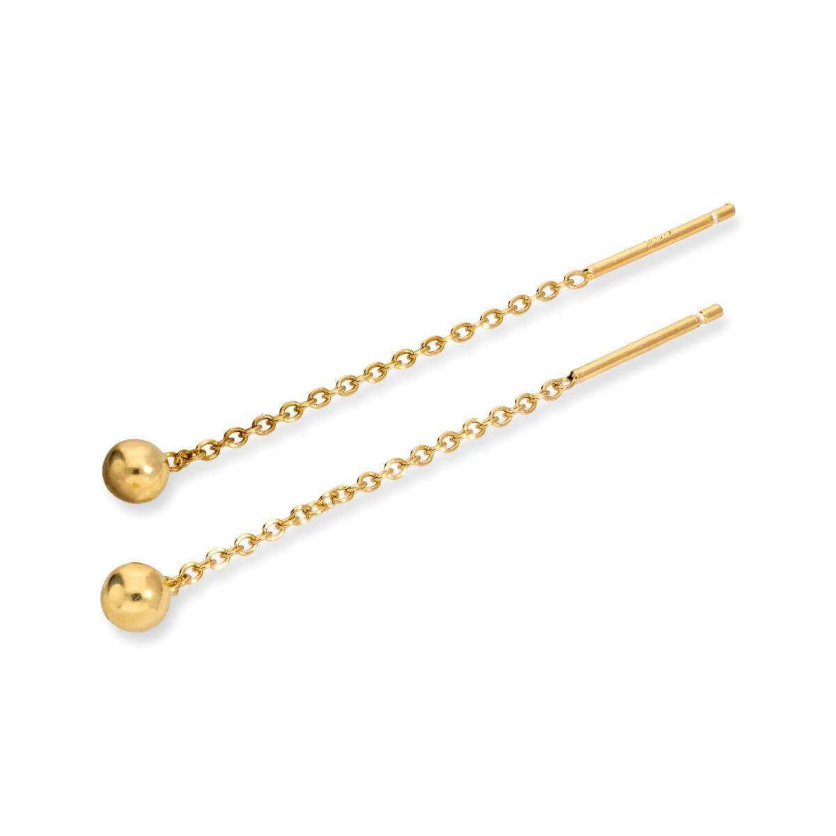Yellow Gold Plated Sterling Silver 4mm Ball Pull Through Earrings