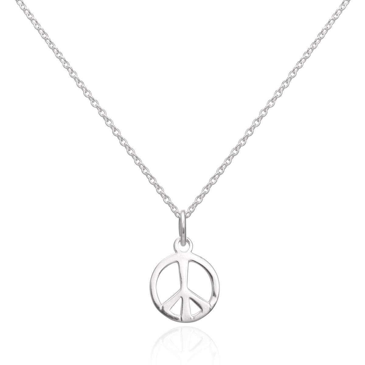 Sterling Silver Peace Sign Pendant Necklace 16 - 22 Inches