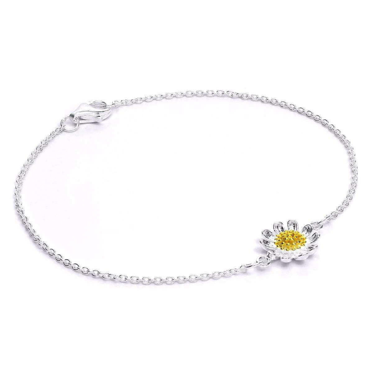 Sterling Silver & Gold Plated Daisy Flower Bracelet 7 Inches