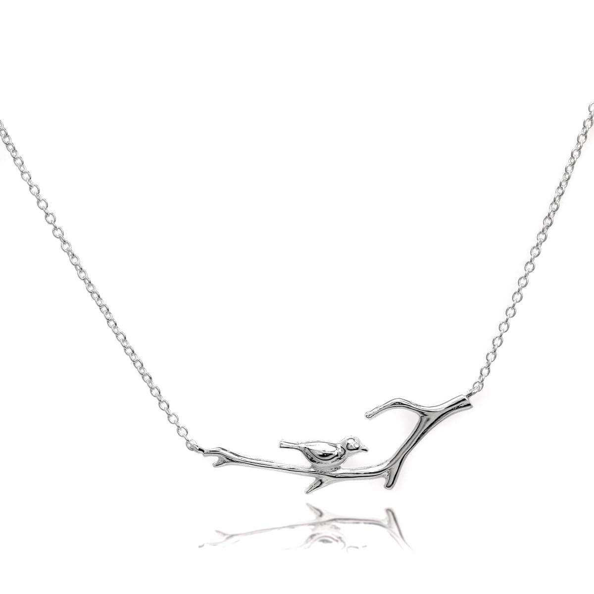 Sterling Silver Bird on Branch 16 Inch Necklace