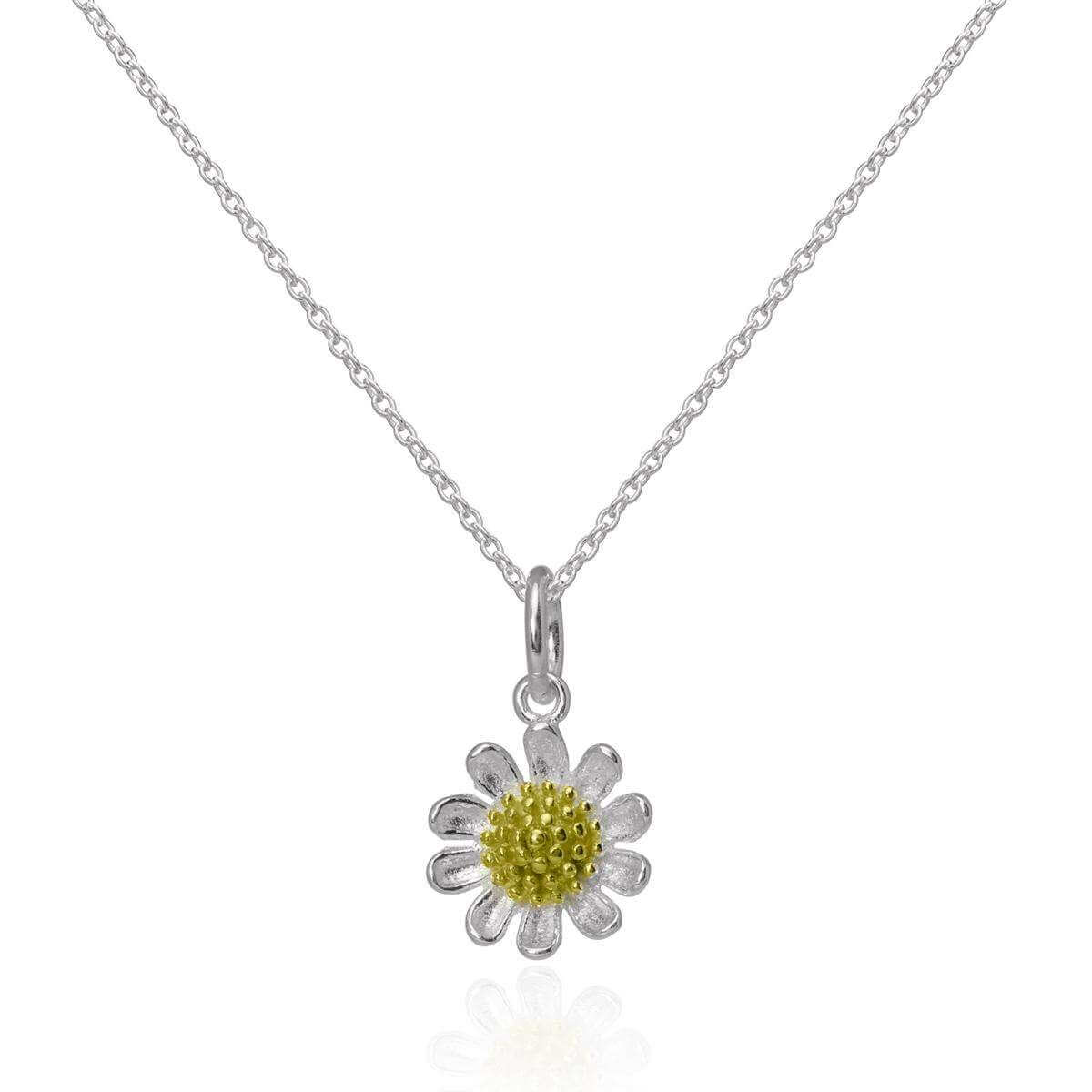 Gold Dipped & Sterling Silver Daisy Flower Pendant on Chain 16 - 22 Inches