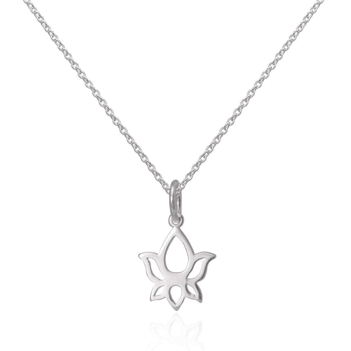 Sterling Silver Cut Out Lotus Flower Outline Pendant Necklace 16 - 22 Inches