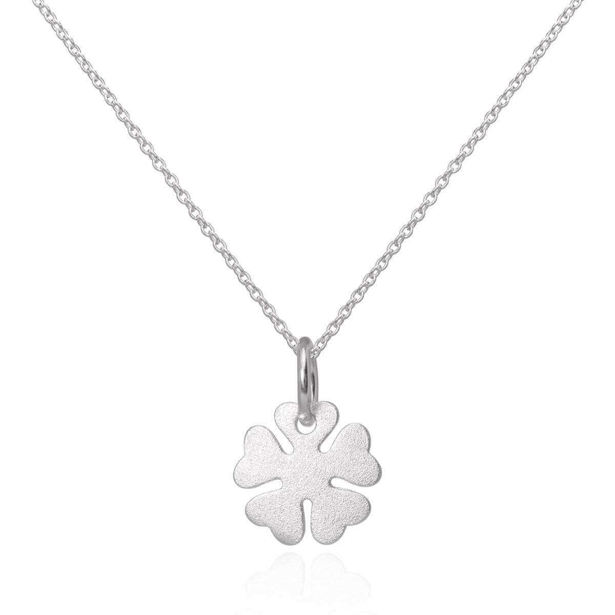 Brushed Sterling Silver Lucky 4 Leaf Clover Pendant Necklace 16 - 22 Inches