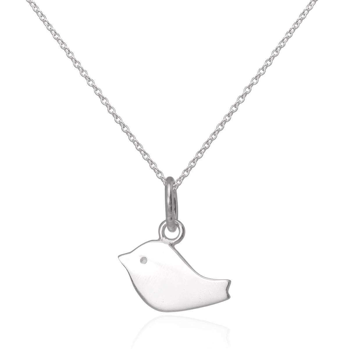 Simple Flat Sterling Silver Bird Pendant Necklace 16 - 22 Inches