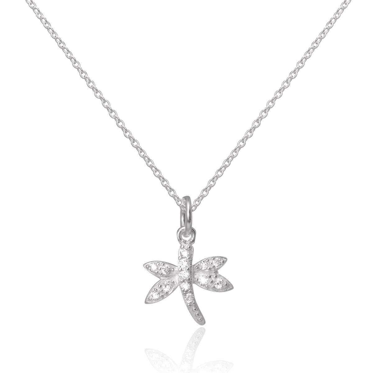 Sterling Silver CZ Crystal Encrusted Dragonfly Pendant Necklace 16 - 22 Inches