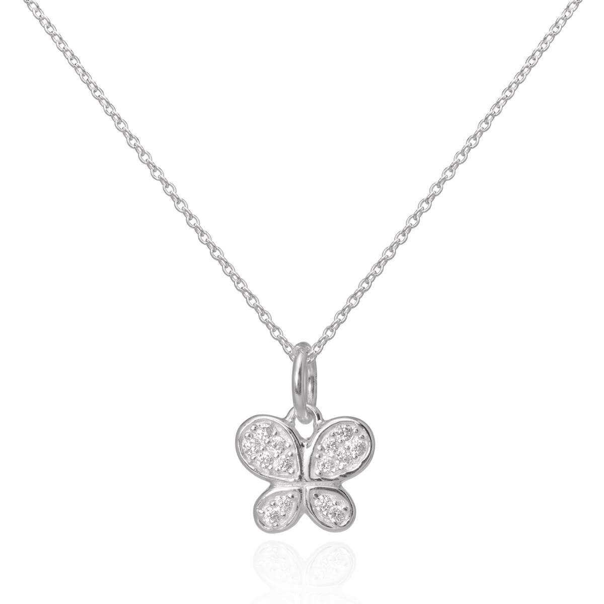 Sterling Silver CZ Crystal Encrusted Butterfly Pendant Necklace 16 - 22 Inches