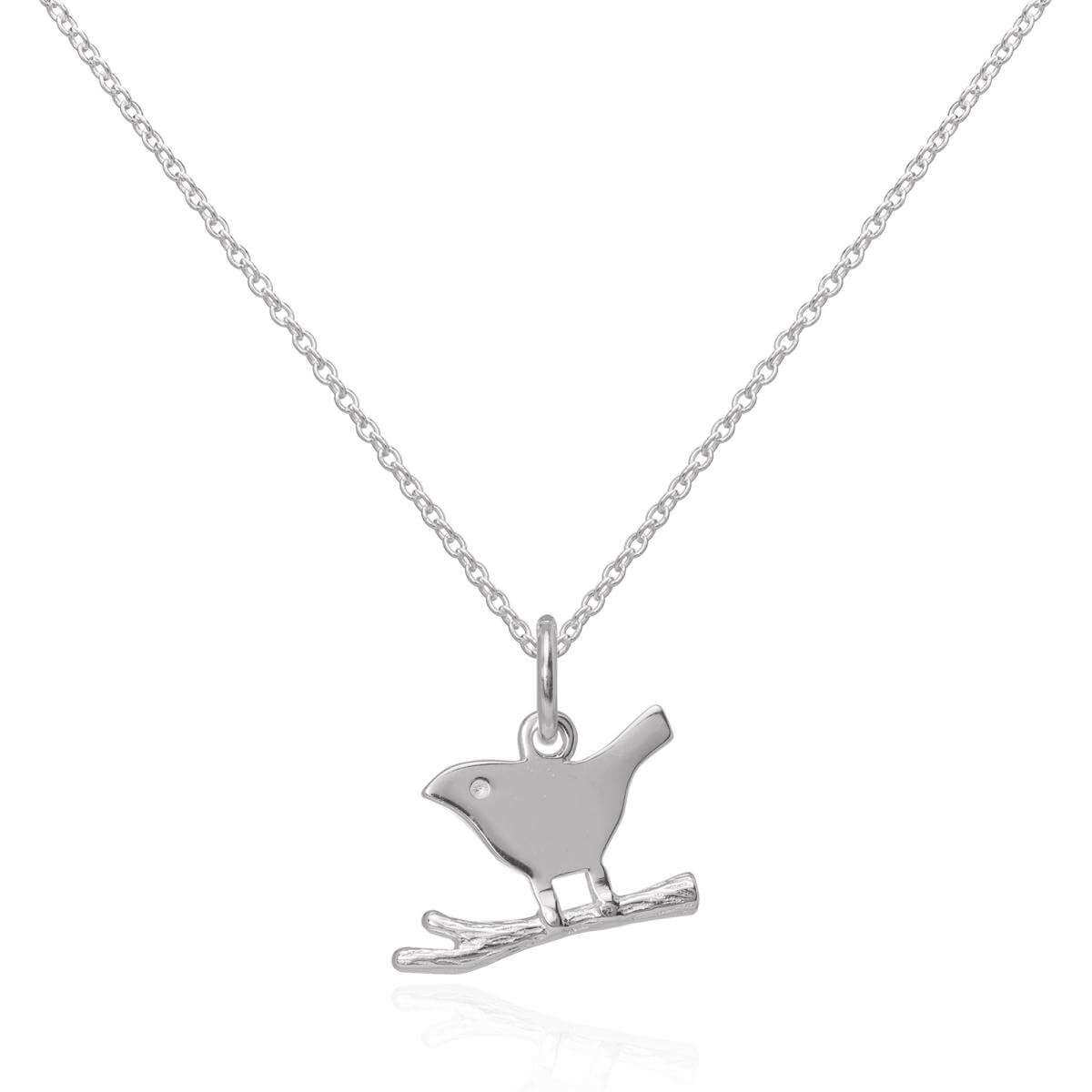 Sterling Silver Simple Bird on a Branch Pendant Necklace 16 - 22 Inches