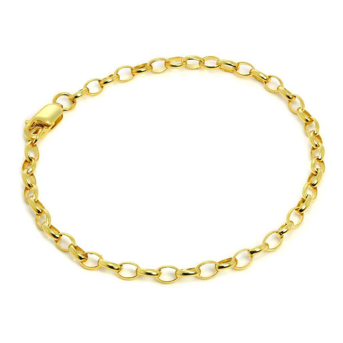 7 Inch Yellow Gold Plated Sterling Silver Belcher Chain Bracelet