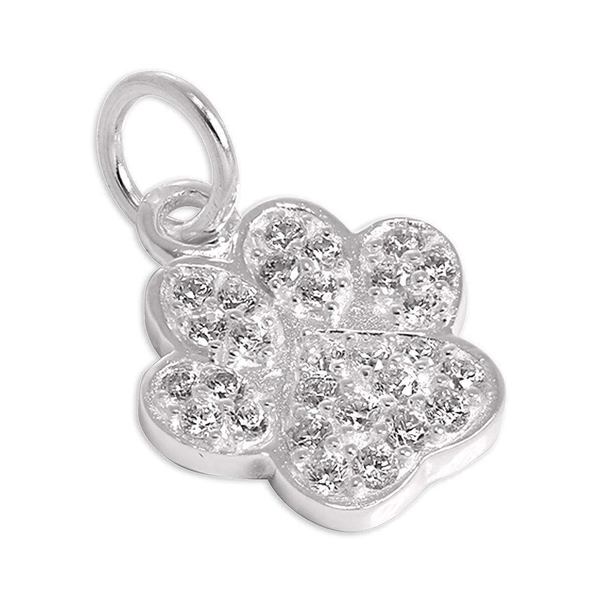 Sterling Silver CZ Crystal Encrusted Paw Print Charm