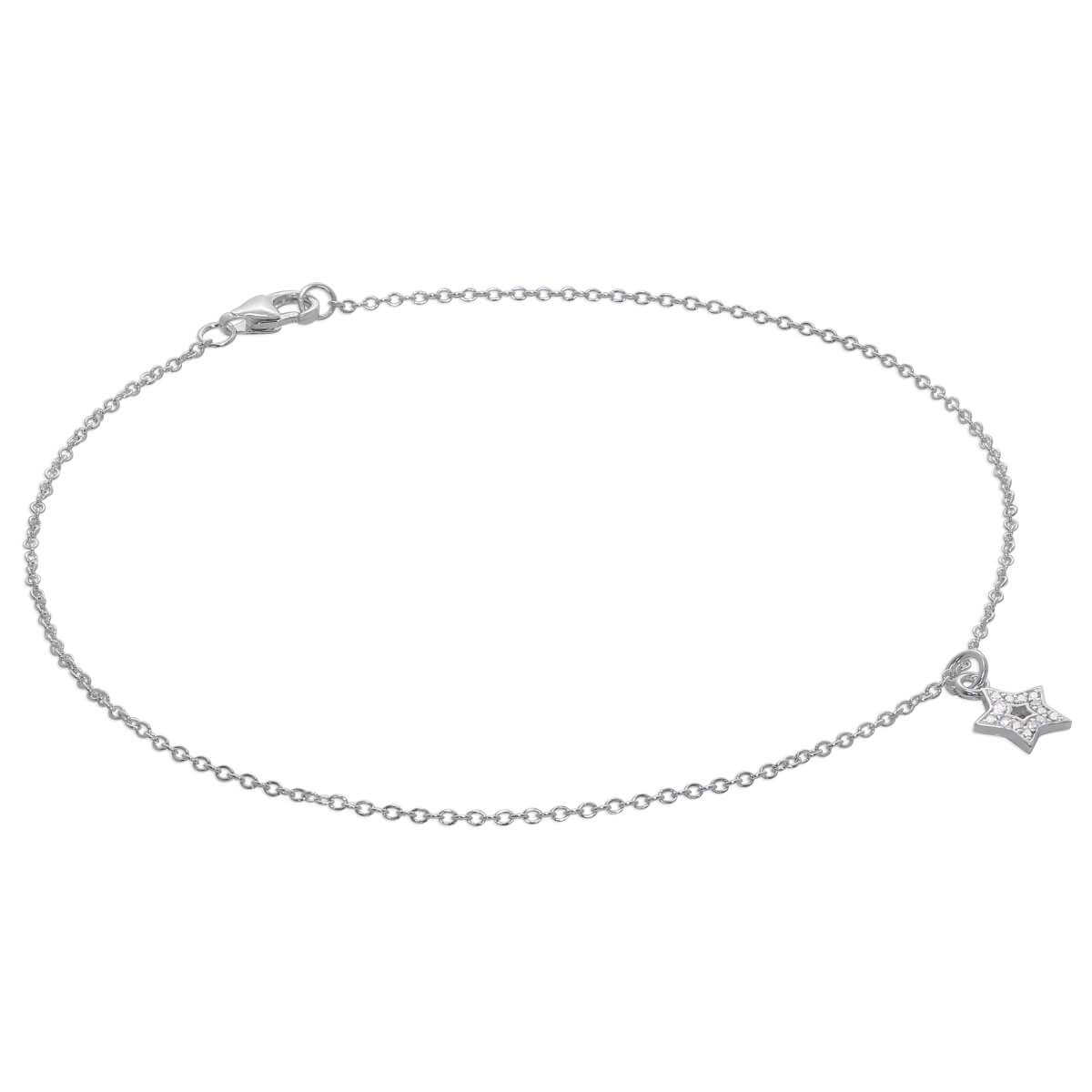 Sterling Silver & CZ Crystal Encrusted Star Anklet