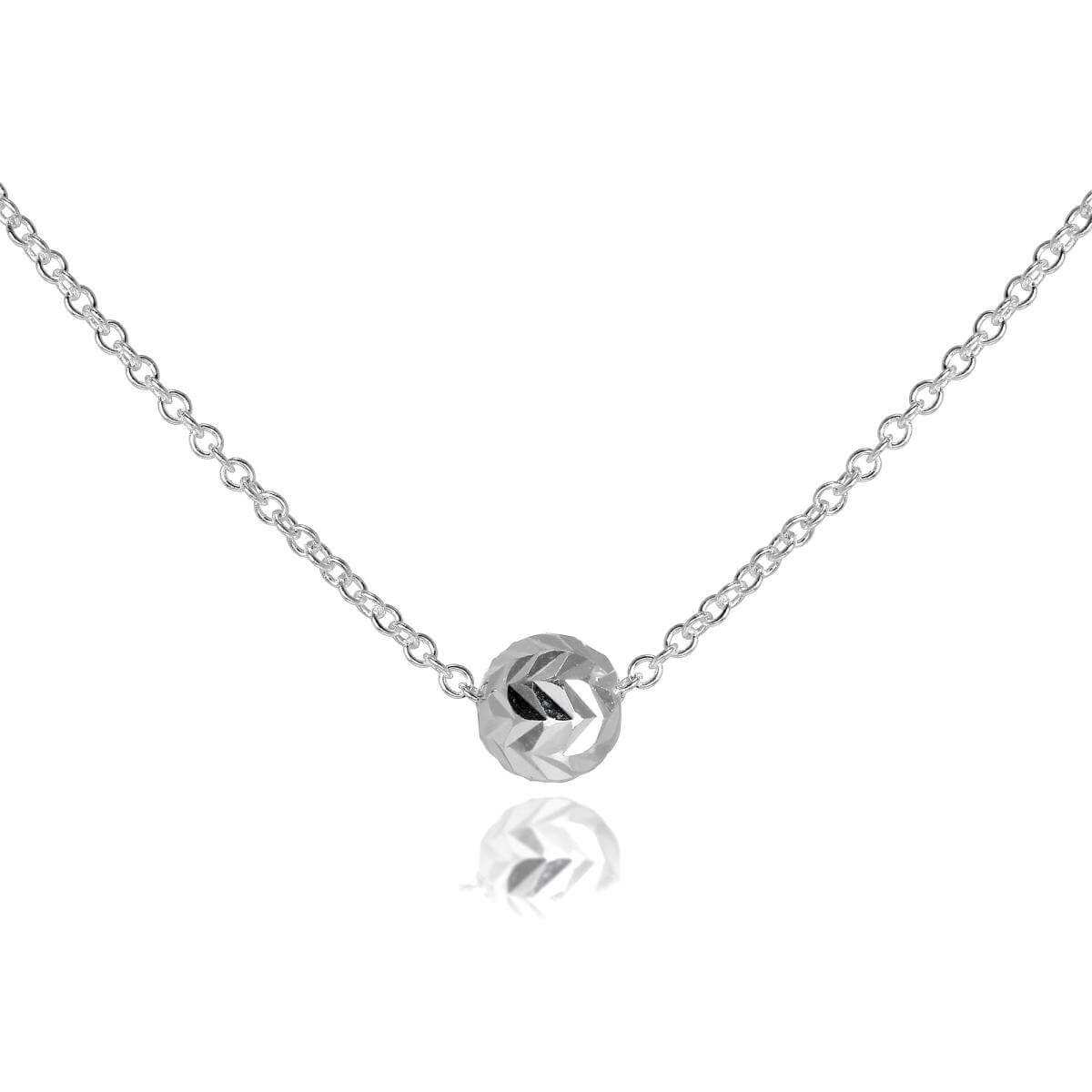 Sterling Silver 18 Inch Necklace with Diamond Cut 6mm Ball
