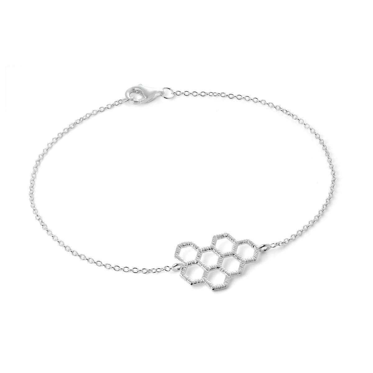 Sterling Silver Honeycomb Hexagon Anklet 10 Inches