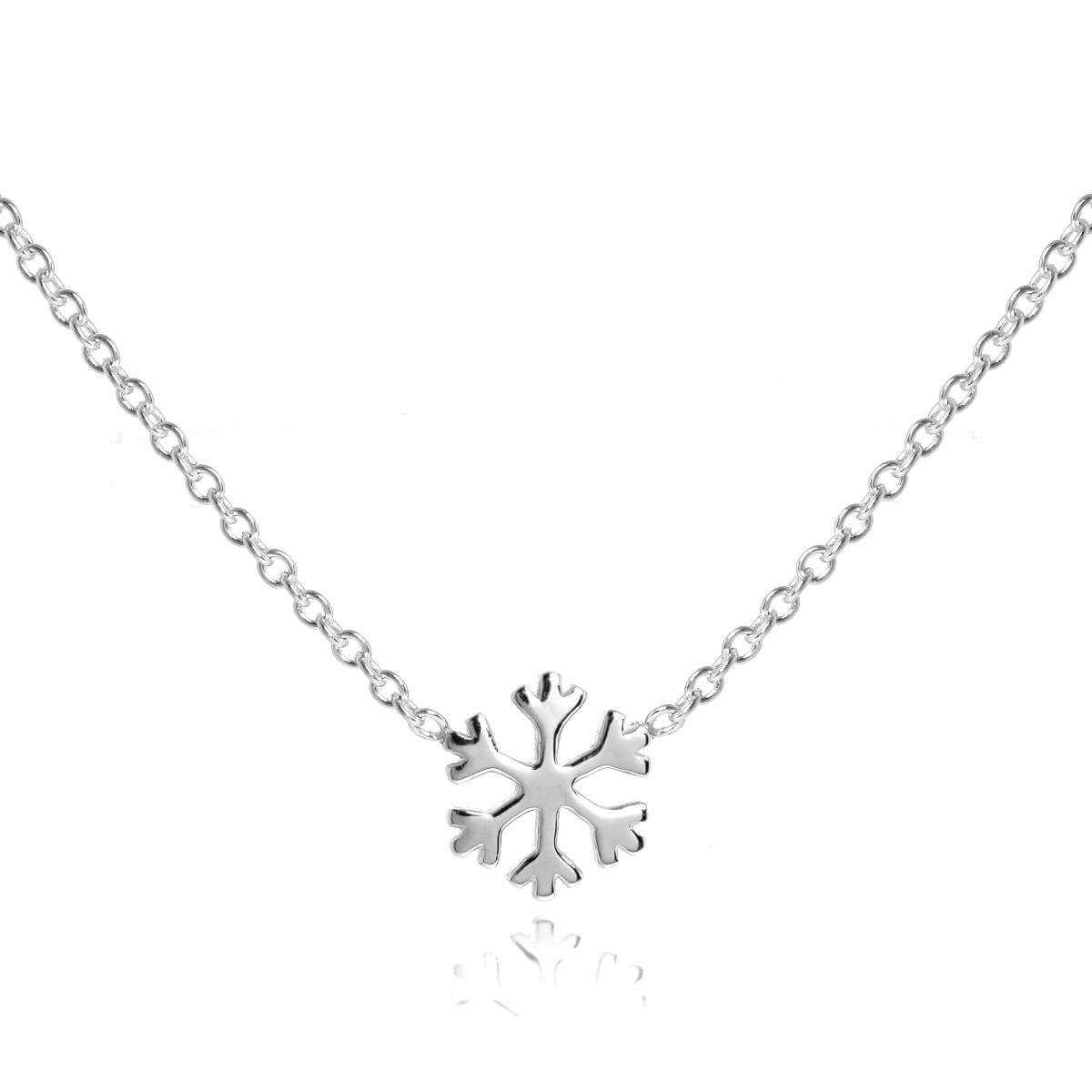 Sterling Silver 18 Inch Snowflake Necklace