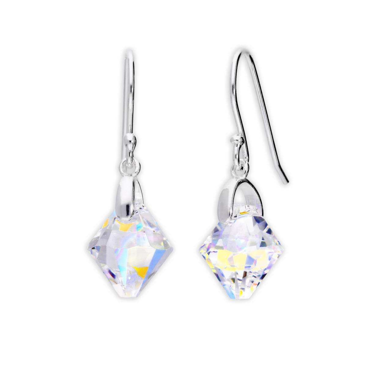 Sterling Silver & Aurora Borealis Crystal Dangle Earrings