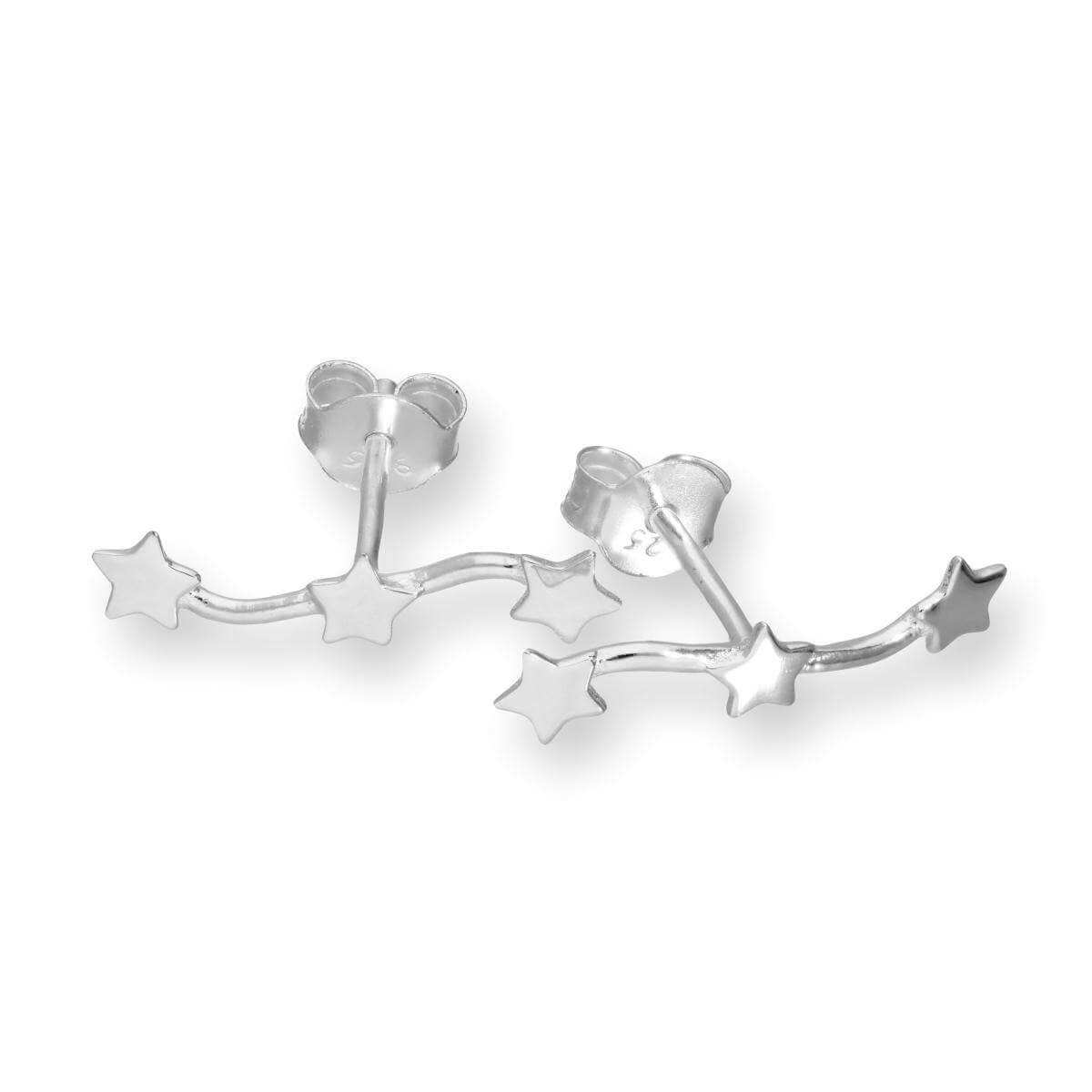 Sterling Silver Triple Star Stud Earrings