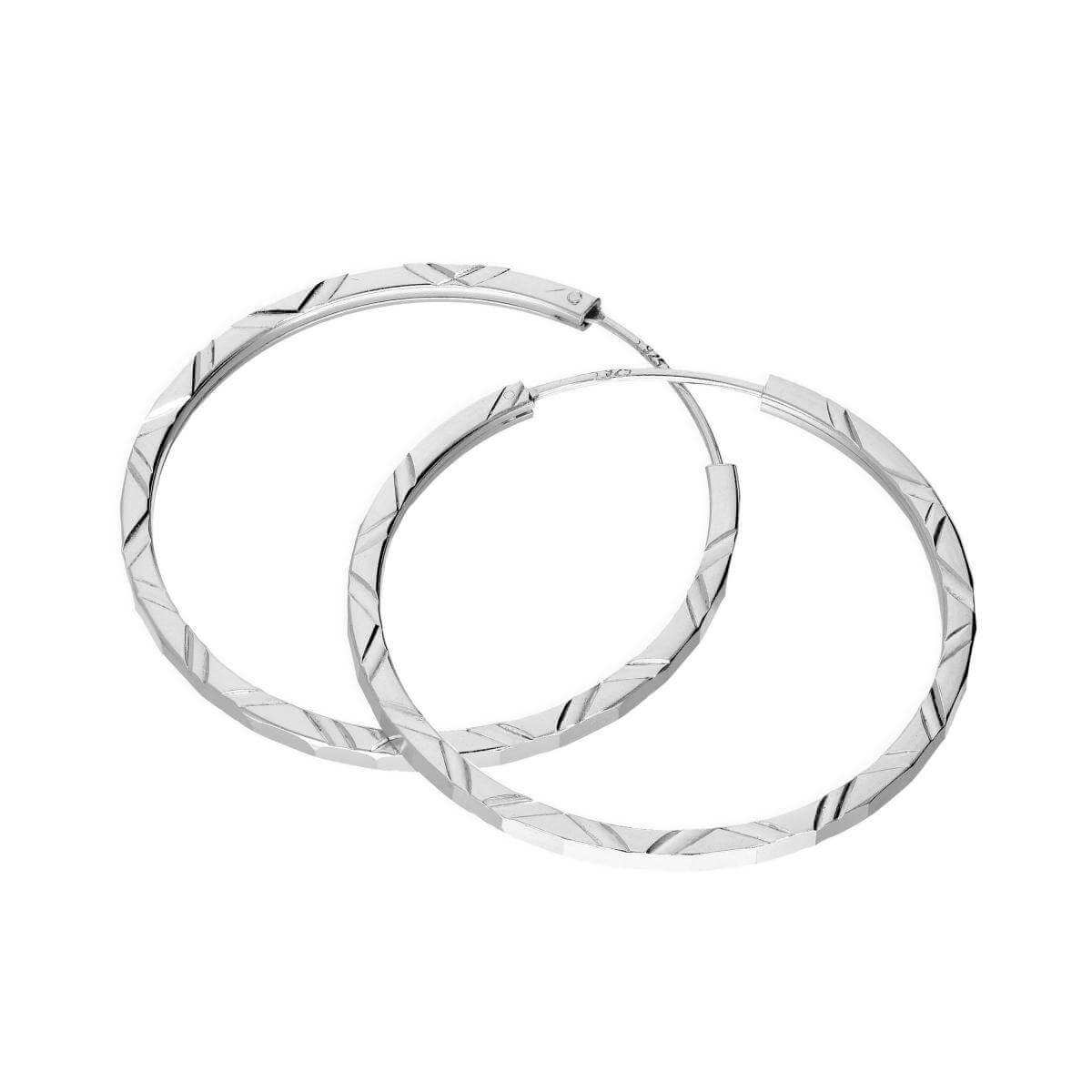 Sterling Silver 35mm Diamond Cut Sleeper Hoop Earrings