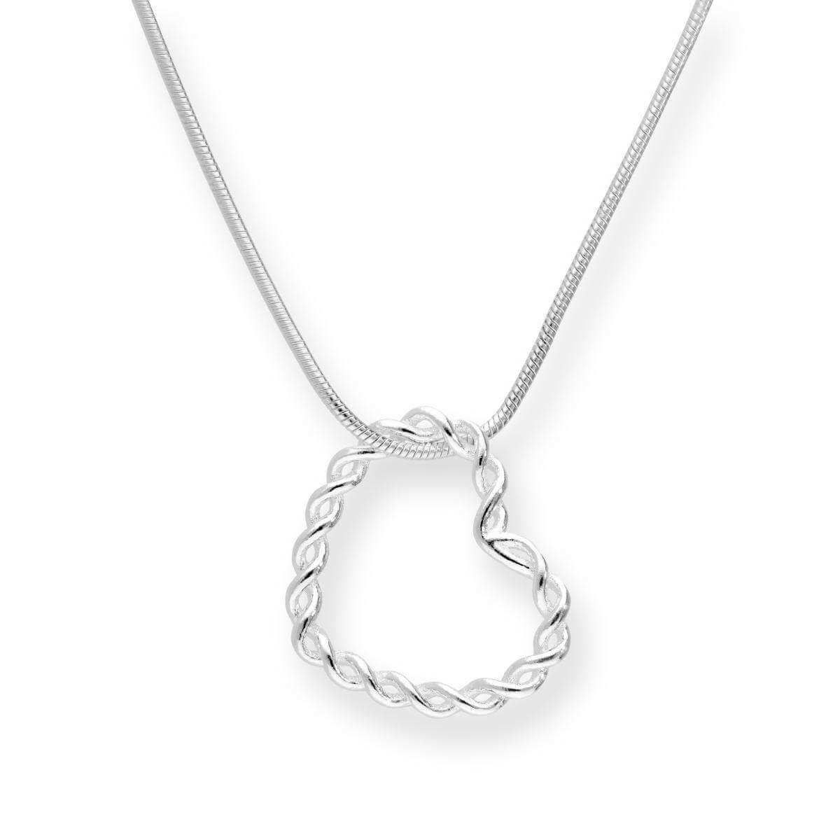 Sterling Silver Twisted Floating Heart Pendant Necklace