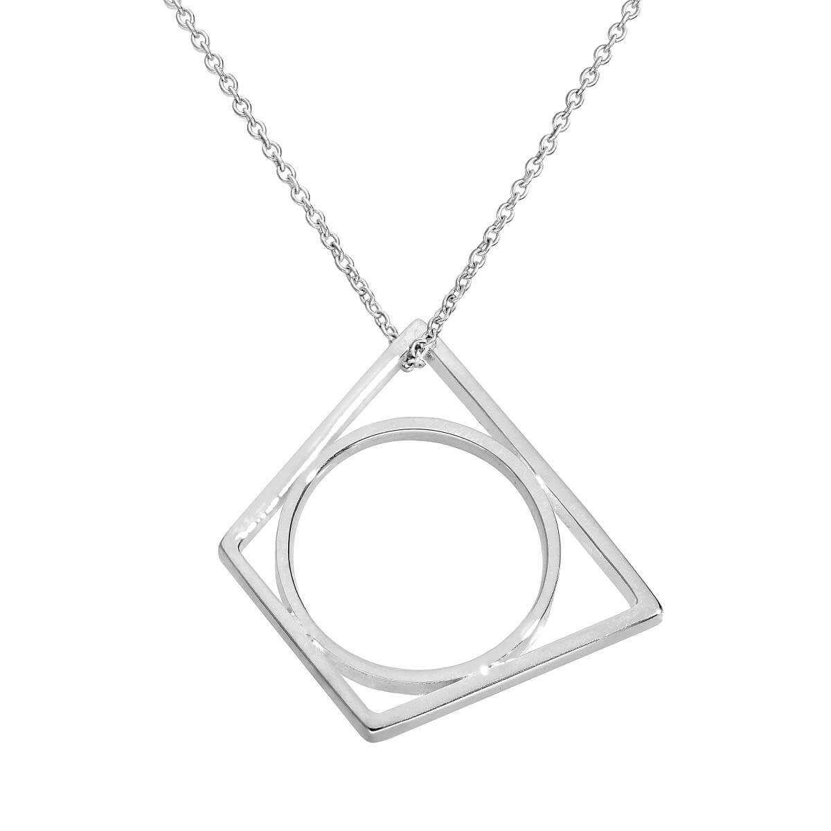 Sterling Silver Trapezium Stacking Ring on Chain 16 - 20 Inches