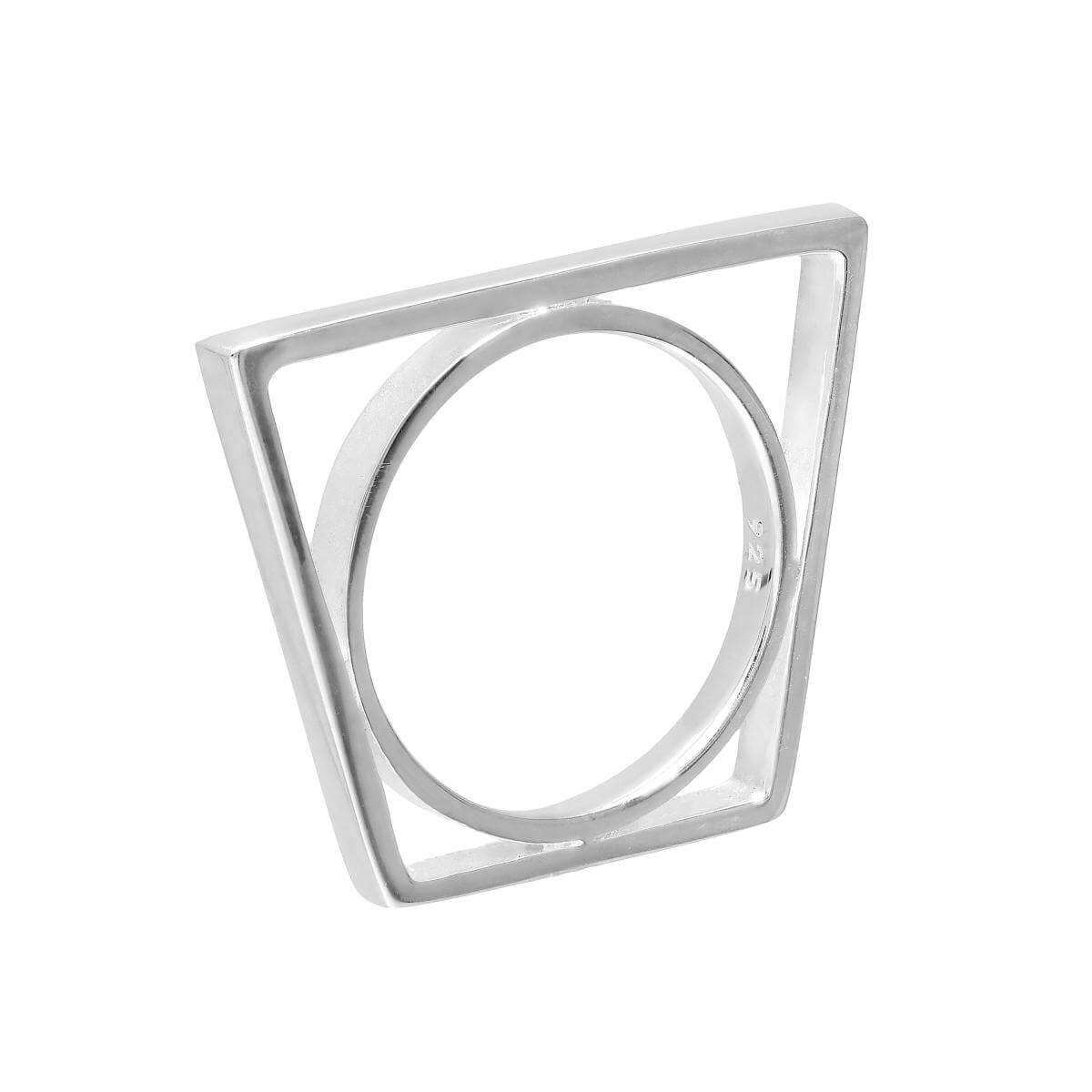 Sterling Silver Trapezium Stacking Ring Size M